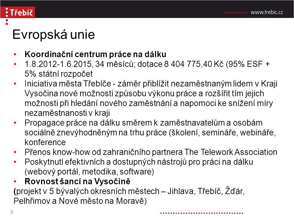 Evropská unie Koordinační centrum práce na dálku 1.8.2012-1.6.2015, 34 měsíců; dotace 8 404 775,40 Kč (95% ESF + 5% státní rozpočet Iniciativa města Třebíče - záměr přiblížit nezaměstnaným lidem v Kraji Vysočina nové možnosti způsobu výkonu práce a rozšířit tím jejich možnosti při hledání nového zaměstnání a napomoci ke snížení míry nezaměstnanosti v kraji Propagace práce na dálku směrem k zaměstnavatelům a osobám sociálně znevýhodněným na trhu práce (školení, semináře, webináře, konference Přenos know-how od zahraničního partnera The Telework Association Poskytnutí efektivních a dostupných nástrojů pro práci na dálku (webový portál, metodika, software) Rovnost šancí na Vysočině (projekt v 5 bývalých okresních městech – Jihlava, Třebíč, Žďár, Pelhřimov a Nové město na Moravě) 9