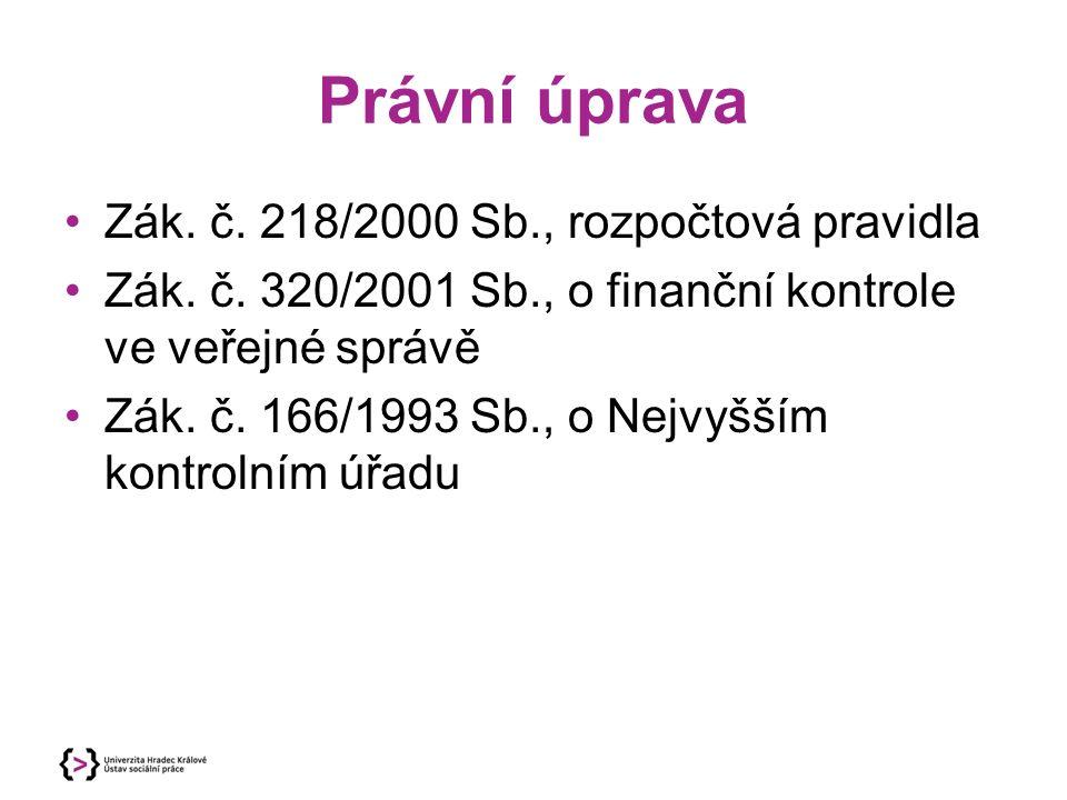 Právní úprava Zák. č. 218/2000 Sb., rozpočtová pravidla Zák.