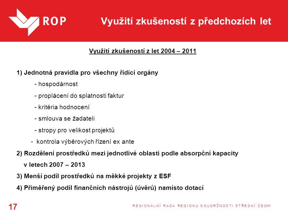 Využití zkušeností z předchozích let Využití zkušeností z let 2004 – 2011 1) Jednotná pravidla pro všechny řídící orgány - hospodárnost - proplácení do splatnosti faktur - kritéria hodnocení - smlouva se žadateli - stropy pro velikost projektů - kontrola výběrových řízení ex ante 2) Rozdělení prostředků mezi jednotlivé oblasti podle absorpční kapacity v letech 2007 – 2013 3) Menší podíl prostředků na měkké projekty z ESF 4) Přiměřený podíl finančních nástrojů (úvěrů) namísto dotací R E G I O N Á L N Í R A D A R E G I O N U S O U D R Ž N O S T I S T Ř E D N Í Č E CHY 17