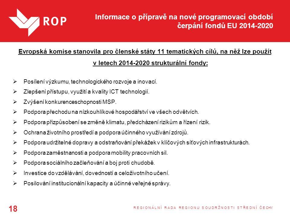 Informace o přípravě na nové programovací období čerpání fondů EU 2014-2020 Evropská komise stanovila pro členské státy 11 tematických cílů, na něž lze použít v letech 2014-2020 strukturální fondy:  Posílení výzkumu, technologického rozvoje a inovací.