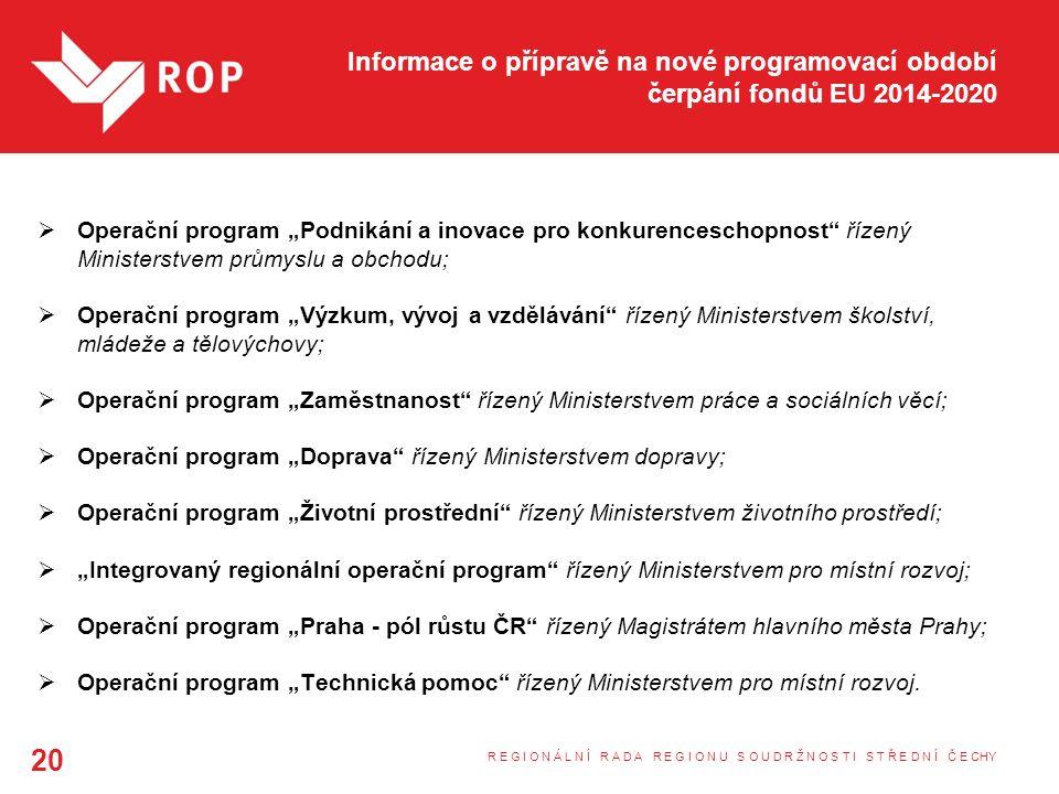 """Informace o přípravě na nové programovací období čerpání fondů EU 2014-2020  Operační program """"Podnikání a inovace pro konkurenceschopnost řízený Ministerstvem průmyslu a obchodu;  Operační program """"Výzkum, vývoj a vzdělávání řízený Ministerstvem školství, mládeže a tělovýchovy;  Operační program """"Zaměstnanost řízený Ministerstvem práce a sociálních věcí;  Operační program """"Doprava řízený Ministerstvem dopravy;  Operační program """"Životní prostřední řízený Ministerstvem životního prostředí;  """"Integrovaný regionální operační program řízený Ministerstvem pro místní rozvoj;  Operační program """"Praha - pól růstu ČR řízený Magistrátem hlavního města Prahy;  Operační program """"Technická pomoc řízený Ministerstvem pro místní rozvoj."""