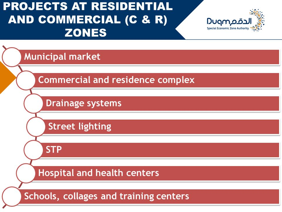 18 Municipal market Commercial and residence complex Drainage systems Street lighting STP Hospital and health centers Schools, collages and training centers PROJECTS AT RESIDENTIAL AND COMMERCIAL (C & R) ZONES