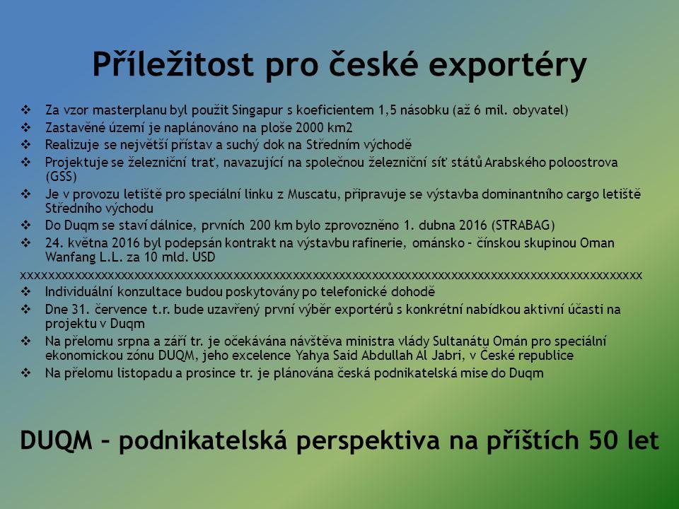 Příležitost pro české exportéry  Za vzor masterplanu byl použit Singapur s koeficientem 1,5 násobku (až 6 mil.