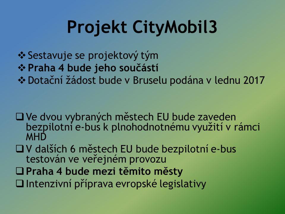 Projekt CityMobil3  Sestavuje se projektový tým  Praha 4 bude jeho součástí  Dotační žádost bude v Bruselu podána v lednu 2017  Ve dvou vybraných městech EU bude zaveden bezpilotní e-bus k plnohodnotnému využití v rámci MHD  V dalších 6 městech EU bude bezpilotní e-bus testován ve veřejném provozu  Praha 4 bude mezi těmito městy  Intenzivní příprava evropské legislativy