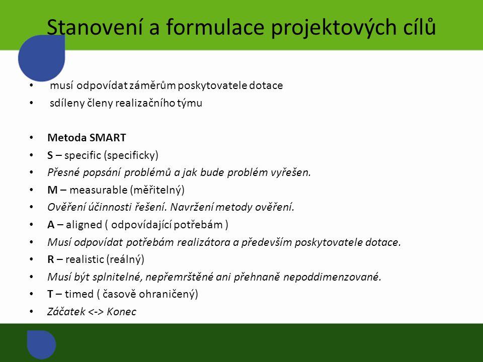 Stanovení a formulace projektových cílů musí odpovídat záměrům poskytovatele dotace sdíleny členy realizačního týmu Metoda SMART S – specific (specificky) Přesné popsání problémů a jak bude problém vyřešen.