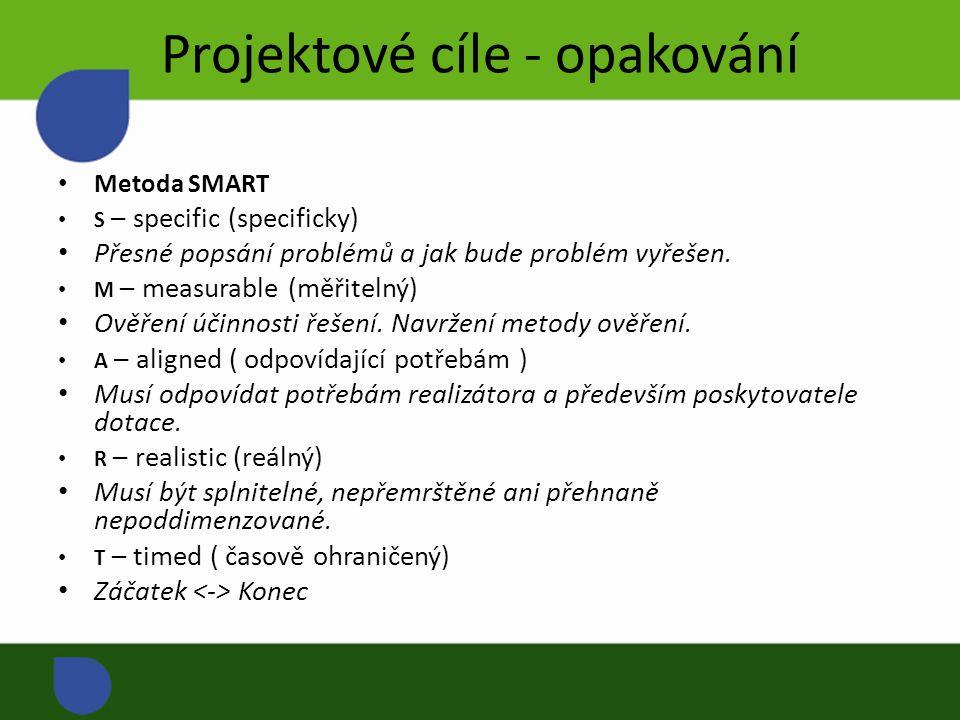 Projektové cíle - opakování Metoda SMART S – specific (specificky) Přesné popsání problémů a jak bude problém vyřešen.