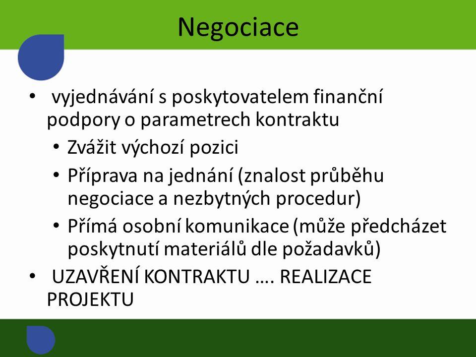 Negociace vyjednávání s poskytovatelem finanční podpory o parametrech kontraktu Zvážit výchozí pozici Příprava na jednání (znalost průběhu negociace a nezbytných procedur) Přímá osobní komunikace (může předcházet poskytnutí materiálů dle požadavků) UZAVŘENÍ KONTRAKTU ….