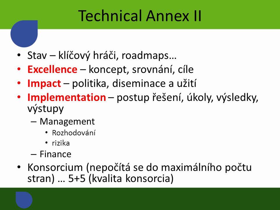 Technical Annex II Stav – klíčový hráči, roadmaps… Excellence – koncept, srovnání, cíle Impact – politika, diseminace a užití Implementation – postup řešení, úkoly, výsledky, výstupy – Management Rozhodování rizika – Finance Konsorcium (nepočítá se do maximálního počtu stran) … 5+5 (kvalita konsorcia)