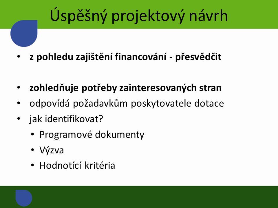 Úspěšný projektový návrh z pohledu zajištění financování - přesvědčit zohledňuje potřeby zainteresovaných stran odpovídá požadavkům poskytovatele dotace jak identifikovat.