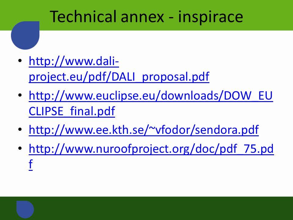 Technical annex - inspirace http://www.dali- project.eu/pdf/DALI_proposal.pdf http://www.dali- project.eu/pdf/DALI_proposal.pdf http://www.euclipse.eu/downloads/DOW_EU CLIPSE_final.pdf http://www.euclipse.eu/downloads/DOW_EU CLIPSE_final.pdf http://www.ee.kth.se/~vfodor/sendora.pdf http://www.nuroofproject.org/doc/pdf_75.pd f http://www.nuroofproject.org/doc/pdf_75.pd f