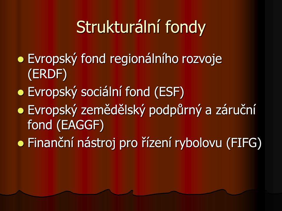 Strukturální fondy Evropský fond regionálního rozvoje (ERDF) Evropský fond regionálního rozvoje (ERDF) Evropský sociální fond (ESF) Evropský sociální fond (ESF) Evropský zemědělský podpůrný a záruční fond (EAGGF) Evropský zemědělský podpůrný a záruční fond (EAGGF) Finanční nástroj pro řízení rybolovu (FIFG) Finanční nástroj pro řízení rybolovu (FIFG)