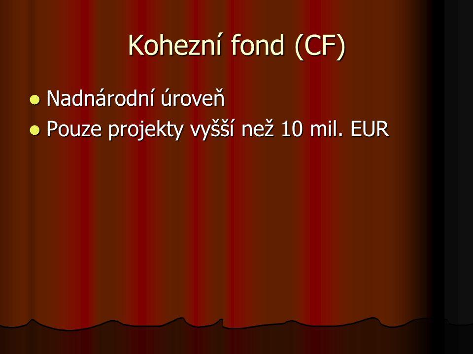 Kohezní fond (CF) Nadnárodní úroveň Nadnárodní úroveň Pouze projekty vyšší než 10 mil.