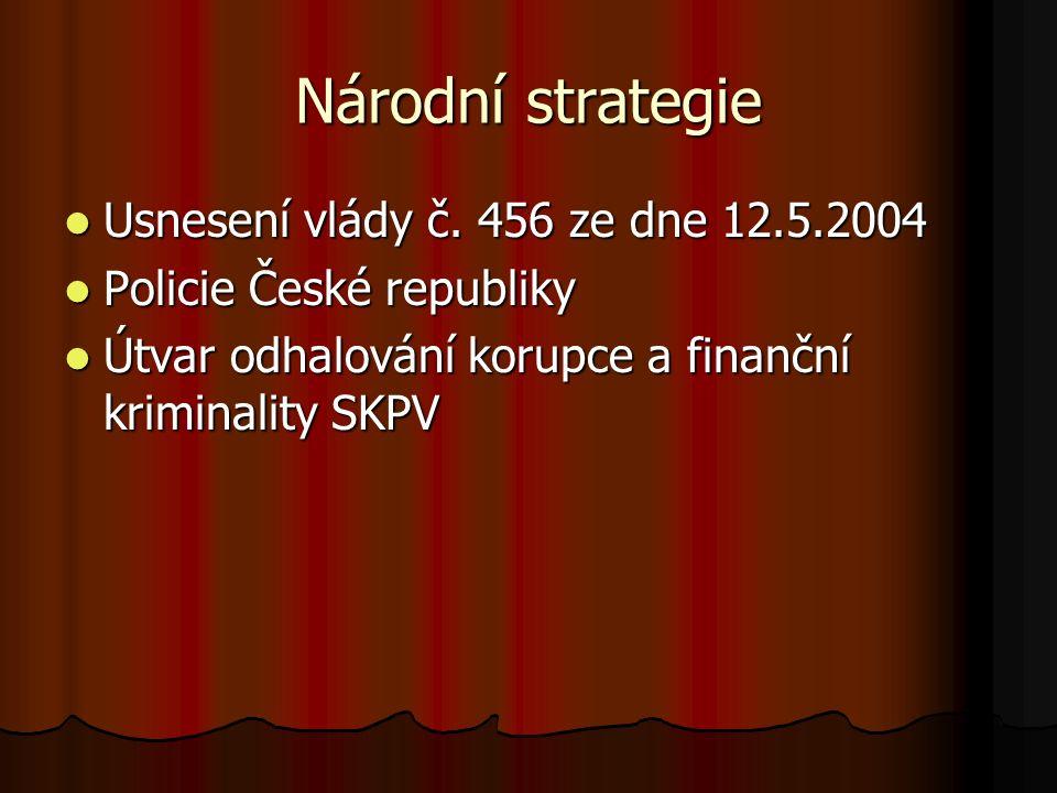 Národní strategie Usnesení vlády č. 456 ze dne 12.5.2004 Usnesení vlády č.