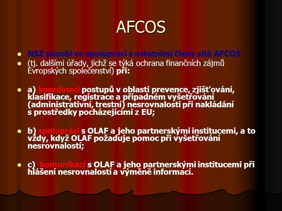 AFCOS NSZ působí ve spolupráci s ostatními členy sítě AFCOS (tj.