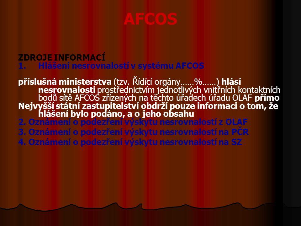 AFCOS ZDROJE INFORMACÍ 1. 1.Hlášení nesrovnalostí v systému AFCOS příslušná ministerstva (tzv.