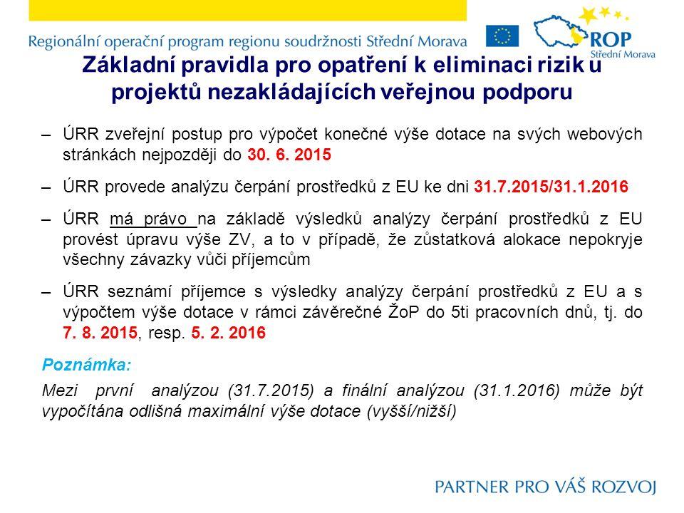 Základní pravidla pro opatření k eliminaci rizik u projektů nezakládajících veřejnou podporu –ÚRR zveřejní postup pro výpočet konečné výše dotace na s