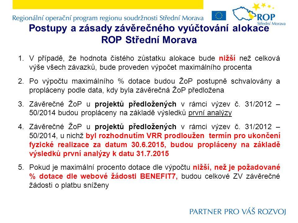 Postupy a zásady závěrečného vyúčtování alokace ROP Střední Morava 1.V případě, že hodnota čistého zůstatku alokace bude nižší než celková výše všech