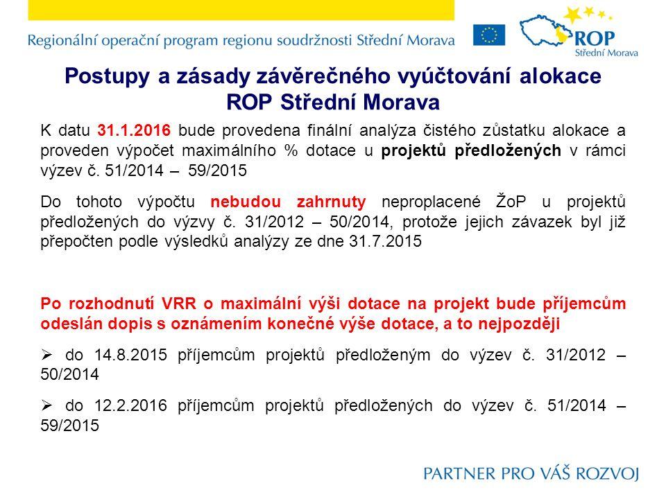 Postupy a zásady závěrečného vyúčtování alokace ROP Střední Morava K datu 31.1.2016 bude provedena finální analýza čistého zůstatku alokace a proveden