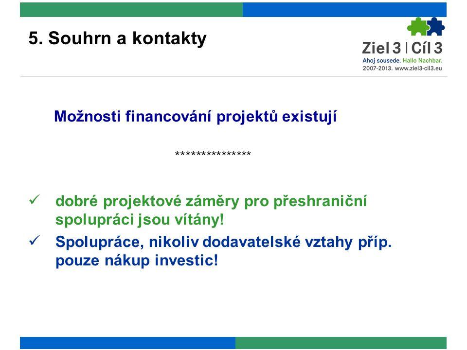 5. Souhrn a kontakty Možnosti financování projektů existují *************** dobré projektové záměry pro přeshraniční spolupráci jsou vítány! Spoluprác