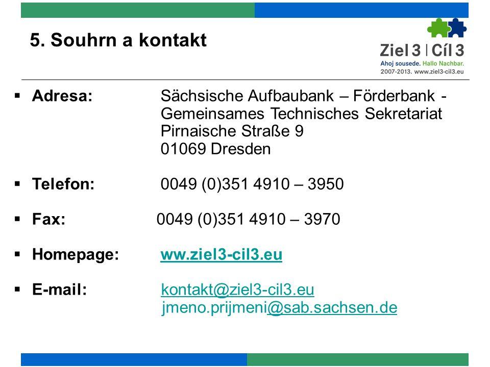 5. Souhrn a kontakt  Adresa:Sächsische Aufbaubank – Förderbank - Gemeinsames Technisches Sekretariat Pirnaische Straße 9 01069 Dresden  Telefon:0049