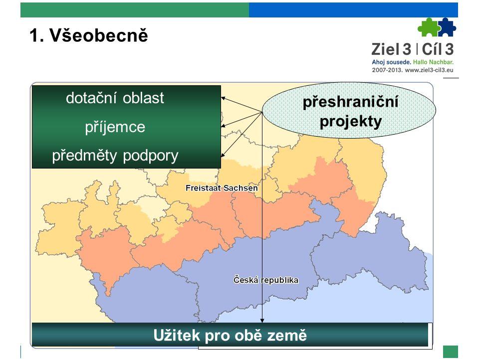 1. Všeobecně dotační oblast příjemce předměty podpory Užitek pro obě země přeshraniční projekty