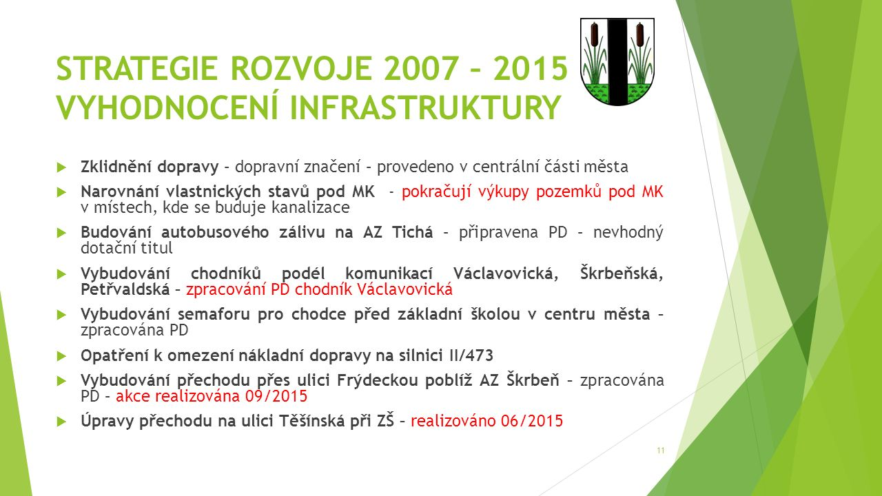 STRATEGIE ROZVOJE 2007 – 2015 VYHODNOCENÍ INFRASTRUKTURY  Zklidnění dopravy – dopravní značení – provedeno v centrální části města  Narovnání vlastn