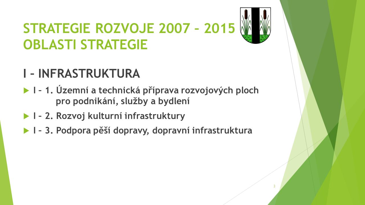 STRATEGIE ROZVOJE 2007 – 2015 OBLASTI STRATEGIE I – INFRASTRUKTURA  I – 1.