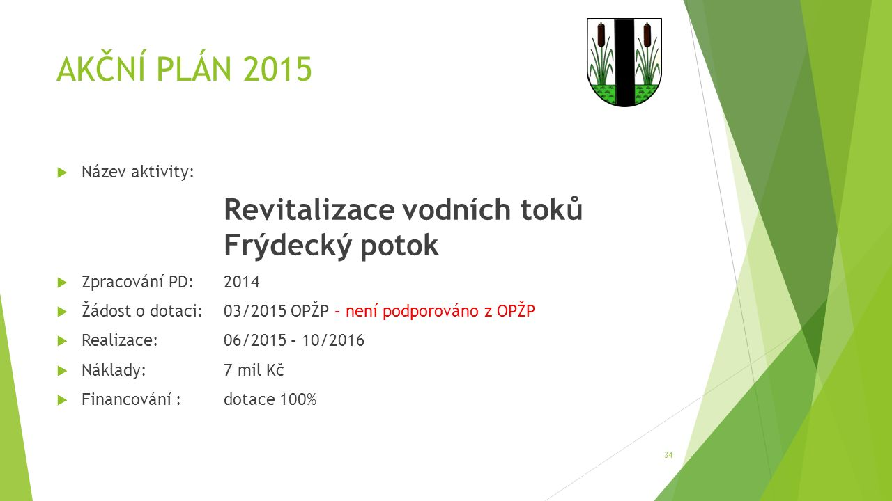 AKČNÍ PLÁN 2015  Název aktivity: Revitalizace vodních toků Frýdecký potok  Zpracování PD:2014  Žádost o dotaci:03/2015 OPŽP – není podporováno z OP