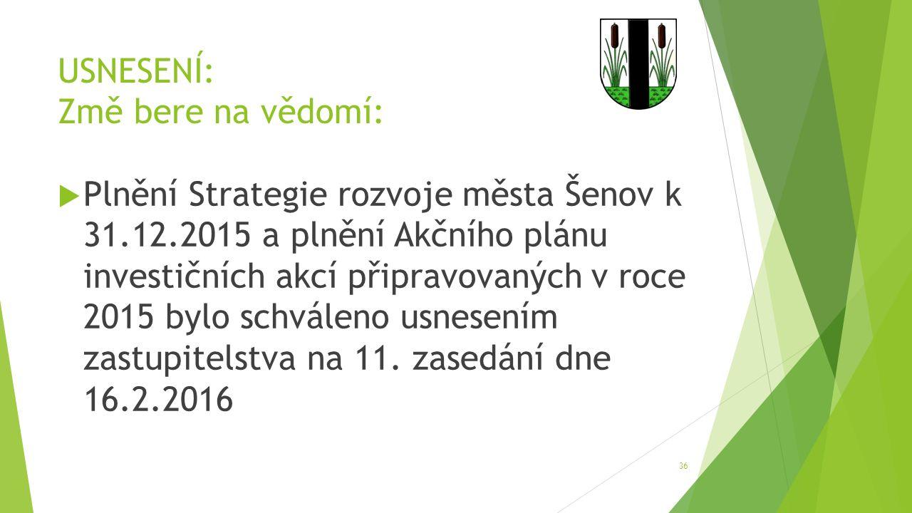 USNESENÍ: Změ bere na vědomí:  Plnění Strategie rozvoje města Šenov k 31.12.2015 a plnění Akčního plánu investičních akcí připravovaných v roce 2015