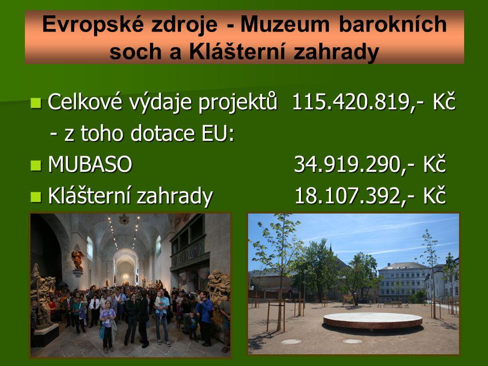 Evropské zdroje - Muzeum barokních soch a Klášterní zahrady Celkové výdaje projektů 115.420.819,- Kč Celkové výdaje projektů 115.420.819,- Kč - z toho dotace EU: - z toho dotace EU: MUBASO 34.919.290,- Kč MUBASO 34.919.290,- Kč Klášterní zahrady 18.107.392,- Kč Klášterní zahrady 18.107.392,- Kč