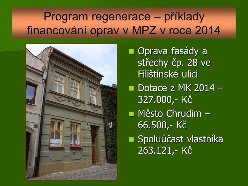 Program regenerace – příklady financování oprav v MPZ v roce 2014 Oprava fasády a střechy čp.