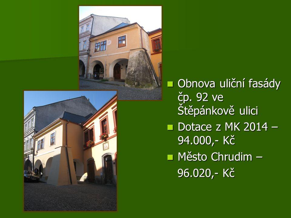 Obnova uliční fasády čp.92 ve Štěpánkově ulici Obnova uliční fasády čp.