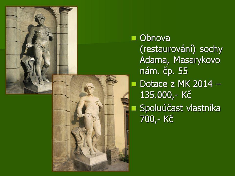 Obnova (restaurování) sochy Adama, Masarykovo nám.
