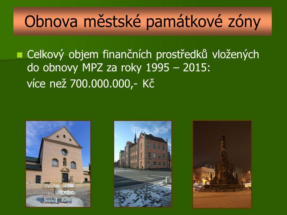Celkový objem finančních prostředků vložených do obnovy MPZ za roky 1995 – 2015: více než 700.000.000,- Kč Obnova městské památkové zóny