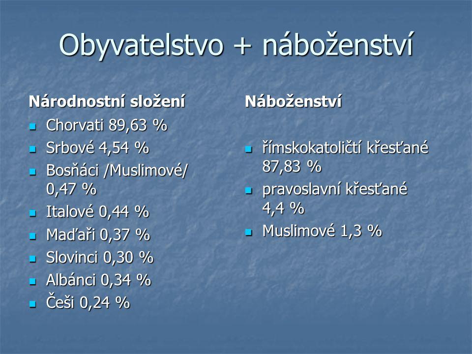 Obyvatelstvo + náboženství Národnostní složení Chorvati 89,63 % Chorvati 89,63 % Srbové 4,54 % Srbové 4,54 % Bosňáci /Muslimové/ 0,47 % Bosňáci /Musli