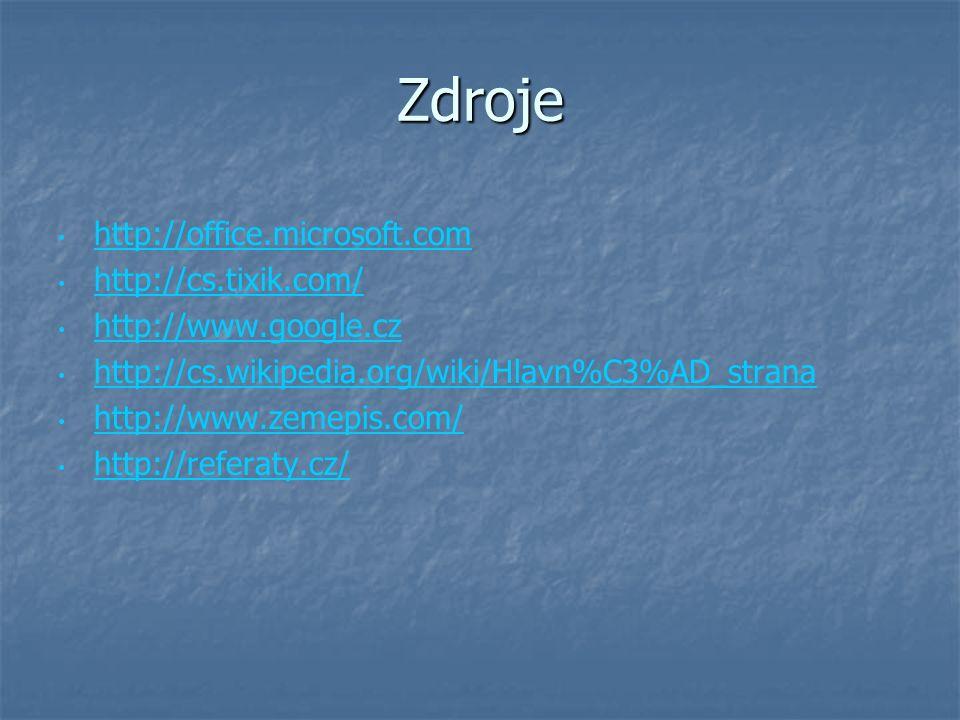 Zdroje http://office.microsoft.com http://cs.tixik.com/ http://www.google.cz http://cs.wikipedia.org/wiki/Hlavn%C3%AD_strana http://www.zemepis.com/ h