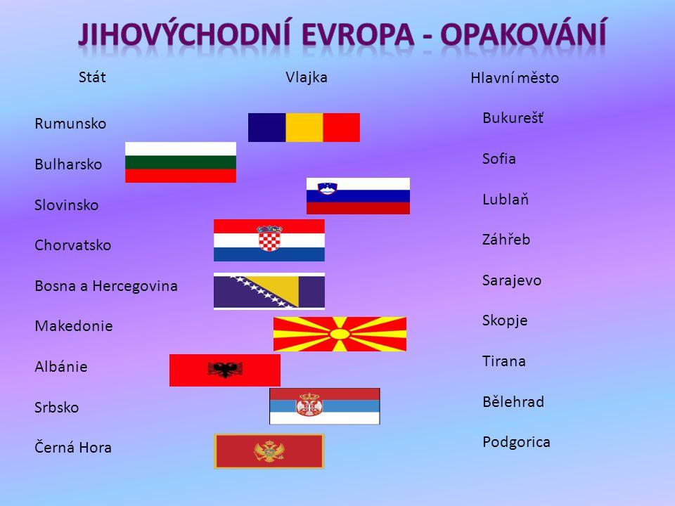 StátVlajka Hlavní město Rumunsko Bulharsko Slovinsko Chorvatsko Bosna a Hercegovina Makedonie Albánie Srbsko Černá Hora Bukurešť Sofia Lublaň Záhřeb S