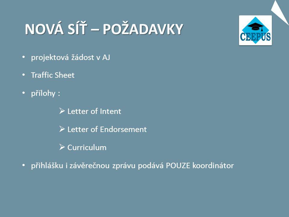 NOVÁ SÍŤ – POŽADAVKY projektová žádost v AJ Traffic Sheet přílohy :  Letter of Intent  Letter of Endorsement  Curriculum přihlášku i závěrečnou zprávu podává POUZE koordinátor