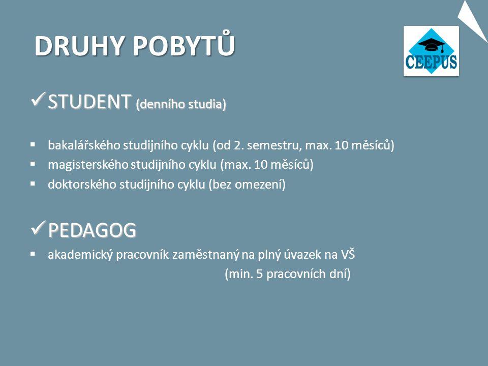 DRUHY POBYTŮ STUDENT (denního studia) STUDENT (denního studia)  bakalářského studijního cyklu (od 2.