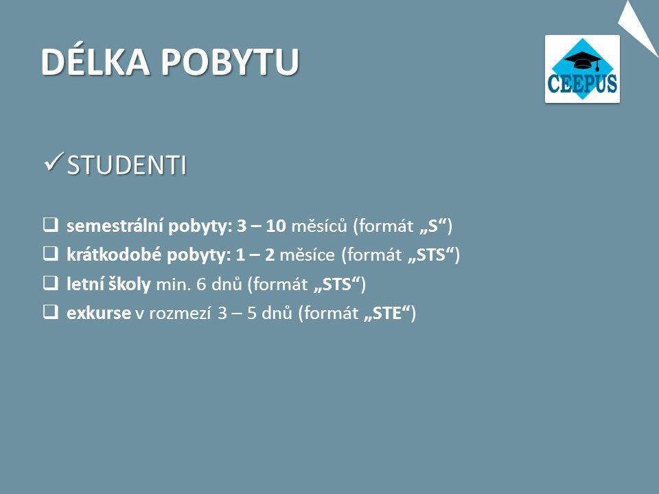 """DÉLKA POBYTU STUDENTI STUDENTI  semestrální pobyty: 3 – 10 měsíců (formát """"S )  krátkodobé pobyty: 1 – 2 měsíce (formát """"STS )  letní školy min."""