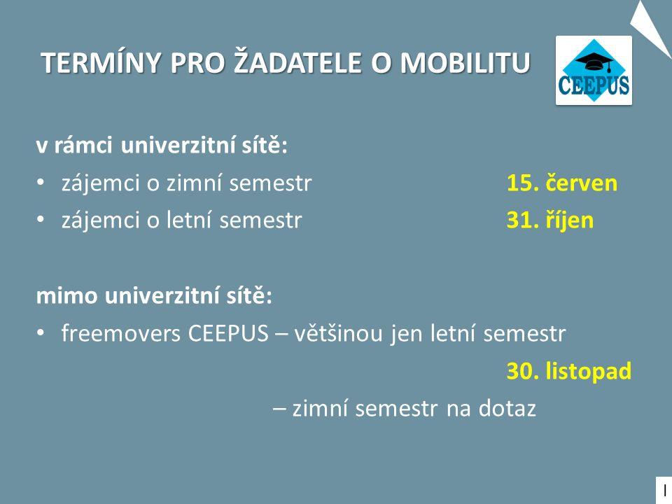 TERMÍNY PRO ŽADATELE O MOBILITU v rámci univerzitní sítě: zájemci o zimní semestr 15.