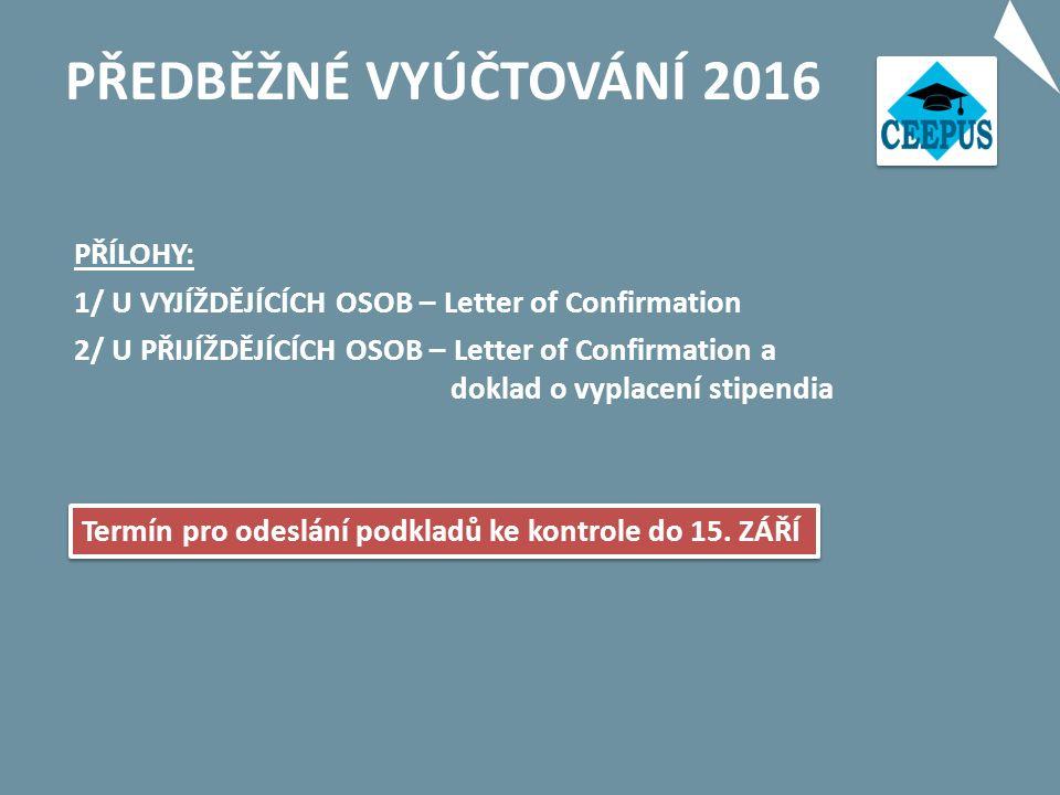 PŘEDBĚŽNÉ VYÚČTOVÁNÍ 2016 Termín pro odeslání podkladů ke kontrole do 15.