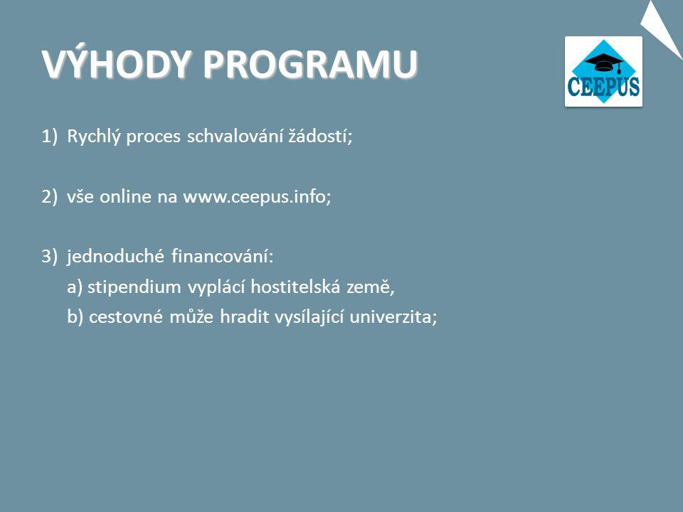 """VÝHODY PROGRAMU 4)uznávání studia v rámci ECTS; 5)kontaktní osoba na hostitelské instituci; 6)možnost """"Joint Programmes a """"Joint Degrees ; 7)individuální mobilita """"freemover ."""