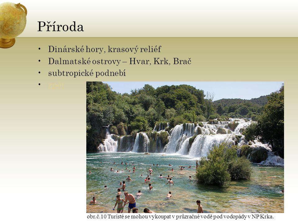 Příroda Dinárské hory, krasový reliéf Dalmatské ostrovy – Hvar, Krk, Brač subtropické podnebí zpět obr.č.10 Turisté se mohou vykoupat v průzračné vodě pod vodopády v NP Krka.