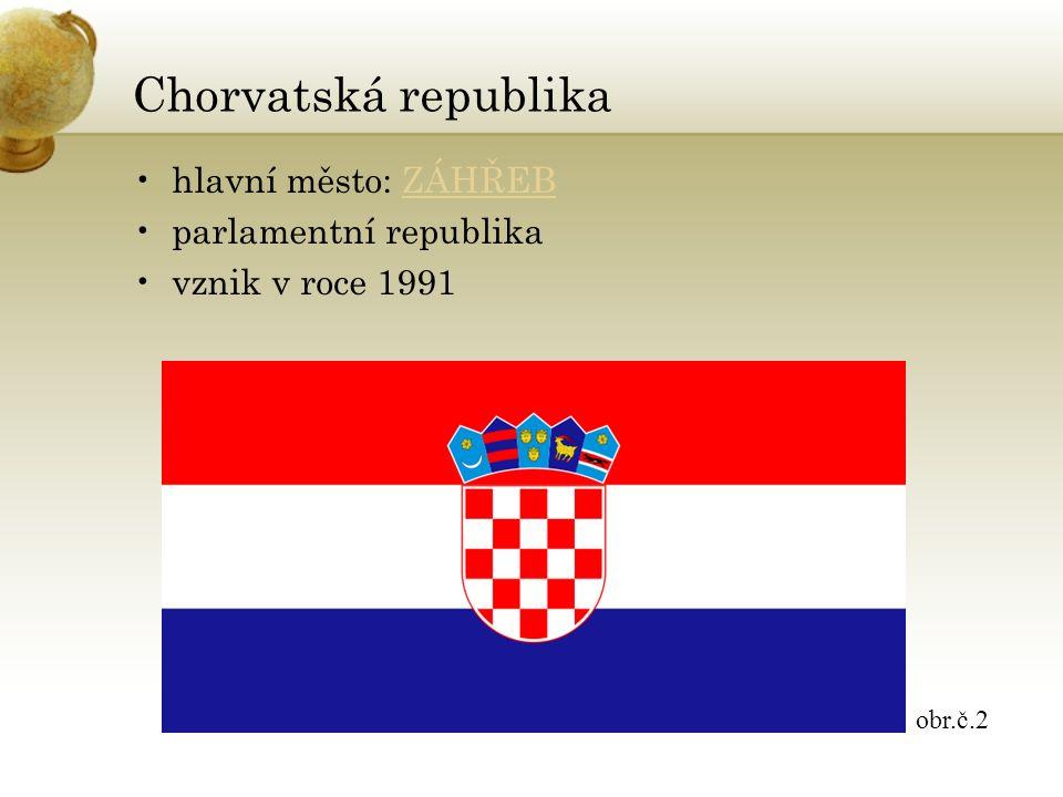 Chorvatská republika hlavní město: ZÁHŘEBZÁHŘEB parlamentní republika vznik v roce 1991 obr.č.2