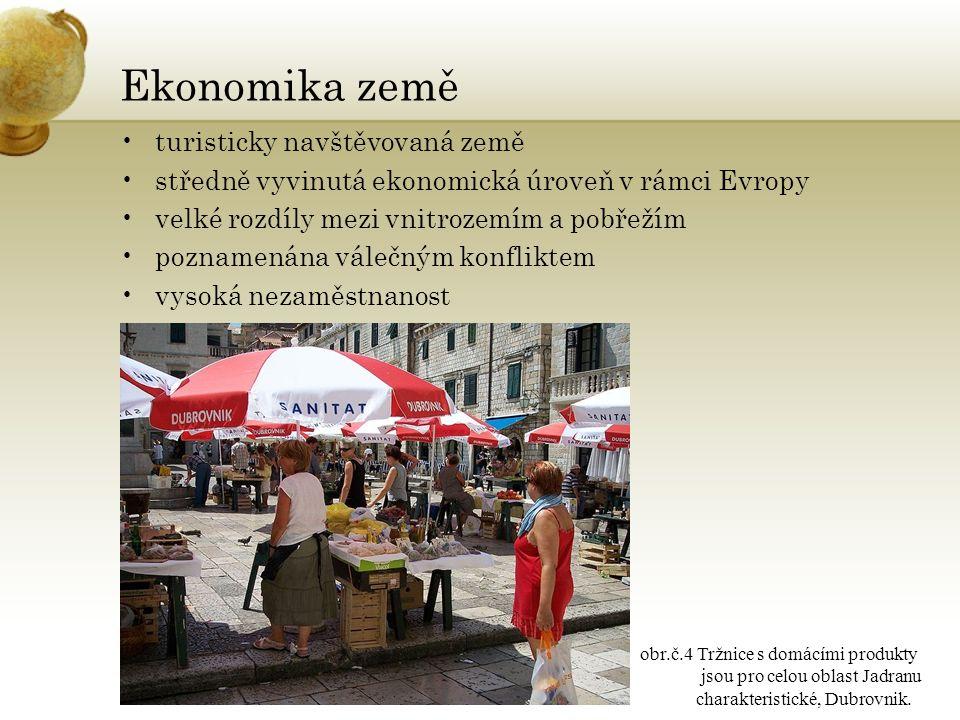 Ekonomika země turisticky navštěvovaná země středně vyvinutá ekonomická úroveň v rámci Evropy velké rozdíly mezi vnitrozemím a pobřežím poznamenána válečným konfliktem vysoká nezaměstnanost obr.č.4 Tržnice s domácími produkty jsou pro celou oblast Jadranu charakteristické, Dubrovnik.