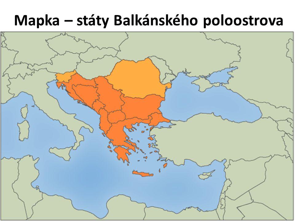 Mapka – státy Balkánského poloostrova