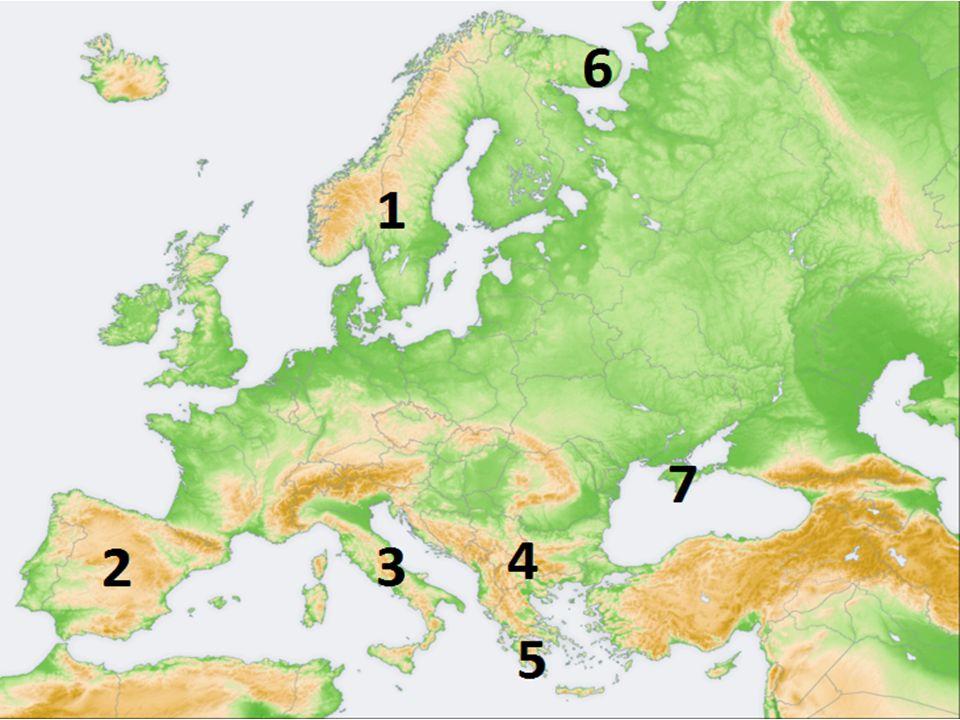 Společné znaky států Nevýhodná poloha – vzdálené od hlavních jádrových oblastí Evropy – periferie Evropy Povrch států je velmi hornatý – relativní izolovanost jednotlivých oblastí Převažuje vnitrozemské podnebí (větší teplotní rozdíly mezi létem a zimou, méně srážek) Nejméně rozvinuté státy Evropy – těžba nerostných surovin, zemědělství – obilí, ovoce, víno, chov ovcí