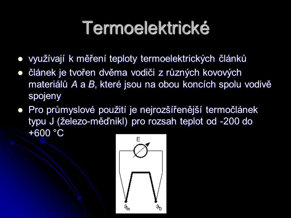 Termoelektrické využívají k měření teploty termoelektrických článků využívají k měření teploty termoelektrických článků článek je tvořen dvěma vodiči
