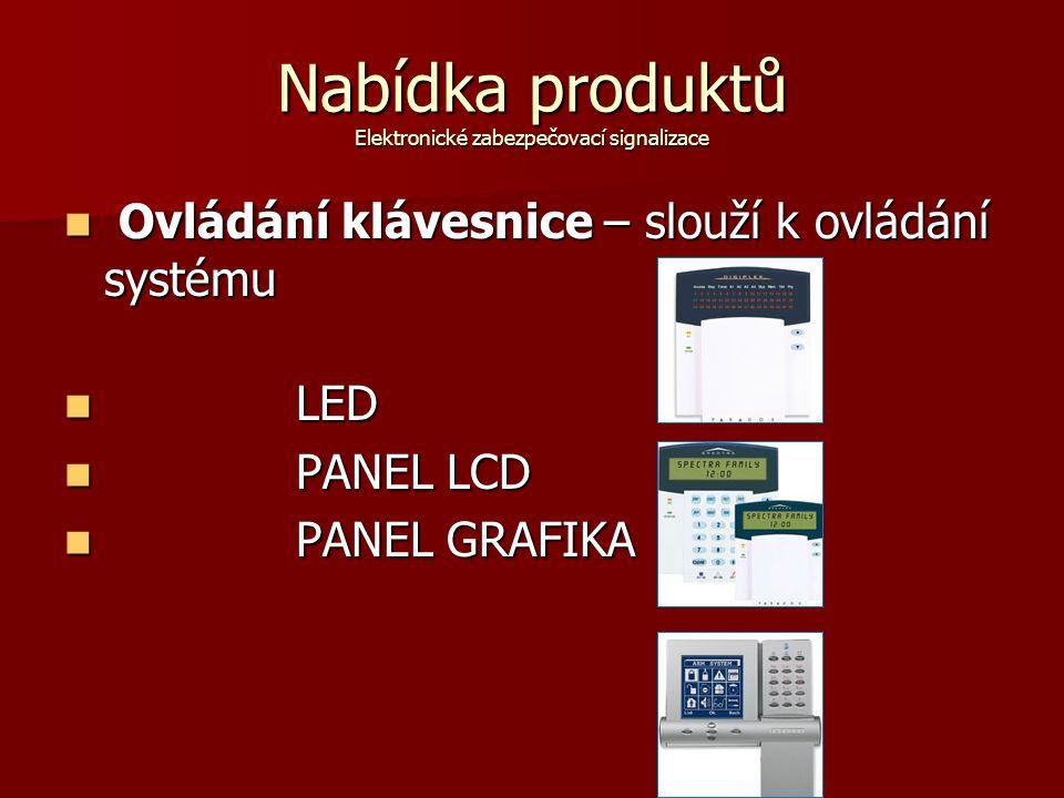 Nabídka produktů Elektronické zabezpečovací signalizace Ovládání klávesnice – slouží k ovládání systému Ovládání klávesnice – slouží k ovládání systému LED LED PANEL LCD PANEL LCD PANEL GRAFIKA PANEL GRAFIKA